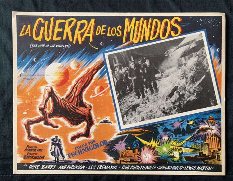 THE WAR OF THE WORLDS Classic Scifi MEXICAN LOBBY CARD N MINT