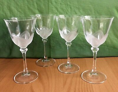 "J G DURAND FLORENCE SATINE WINE 4 CRYSTAL GLASSES  Signed 6 5/8"""