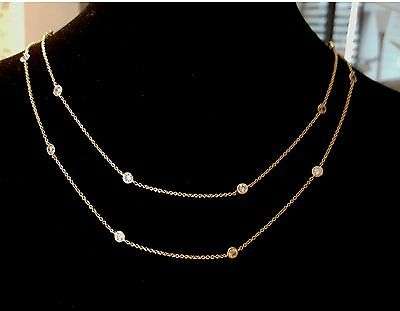 18 Carat Yellow Gold Plated (DOUBLE STRAND YELLOW GOLD PLATED 3 CARAT TW 16