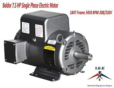 Baldor 7.5 Hp Electric Motor 3450 Rpm 184 T Frame 1 Ph Single Phase 208230 Volt