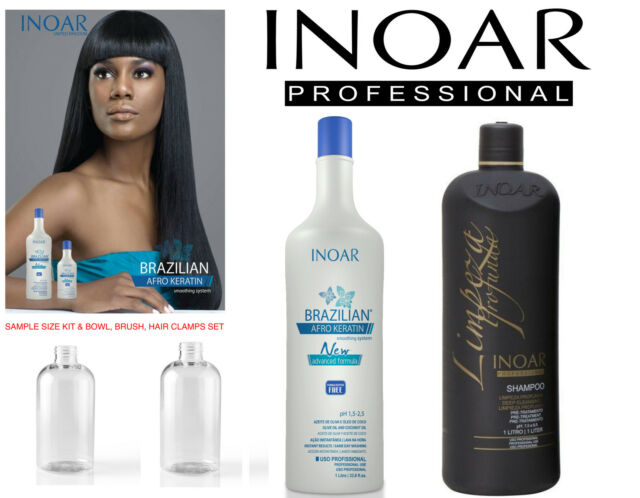 INOAR AFRO BRAZILIAN KERATIN TREATMENT BLOW DRY HAIR STRAIGHTENING FULL KIT DIY