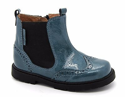 Teal Patent Schuhe (Startrite Infant Girls UK 8.5 F EU 26 Teal Patent Leather Zip Up Chelsea Boots)