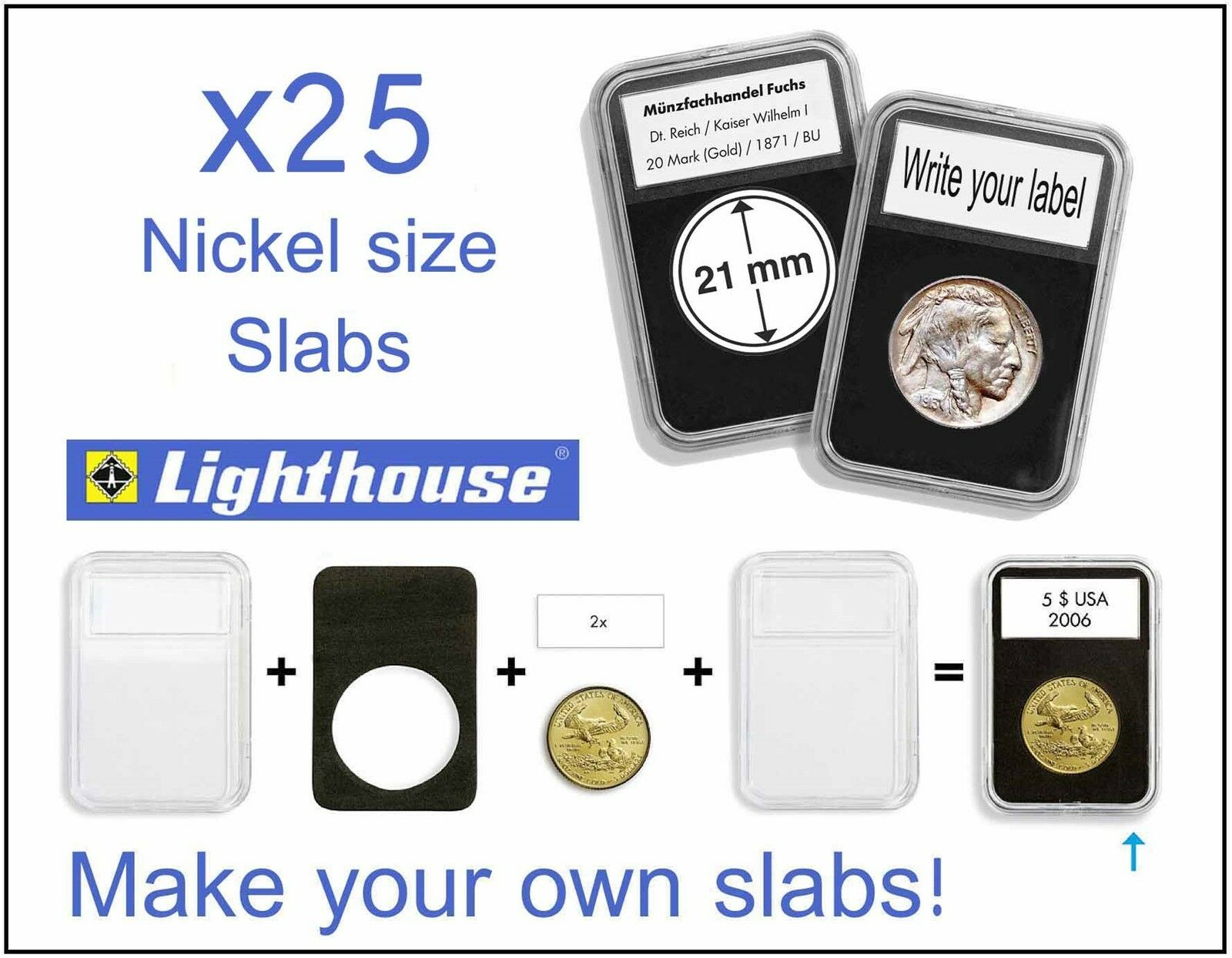 15 Lighthouse EVERSLAB Coin Holder Slabs 26mm Sacagawea Dollar Graded Case SLAB