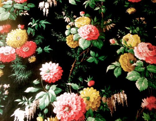 Vintage English Roses Floral Moss Polished Cotton Fabric ~Black Red Pink Yellow