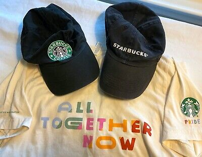 LOT Vintage Starbucks Authentic Employee Uniform Cap Hat OLD SirenT Shirt Small