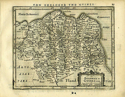 1651 Genuine Antique map of Northern France. Boulogne. by Mercator Jansson