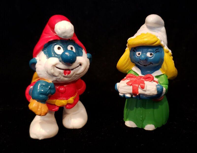Vintage Smurfs Papa Smurf Santa Smurfette Christmas Lot