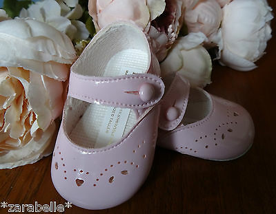 Baby Girl PINK Patent Mary Janes Pram Shoes Christening Size 0-1-2/0-3-6-12m Baby Pink Patent Schuhe