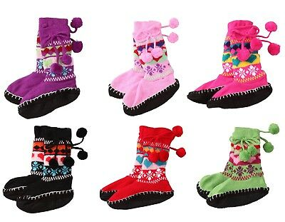Kids Slippers Girls Knitted Boot Socks Pom Pom Heart Booties Winter Size 5,6,7