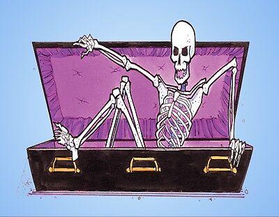METAL FRIDGE MAGNET Halloween Skeleton Climbing Out Of Coffin Humor