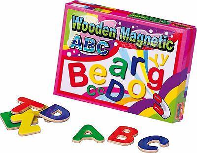 Holz Magnetbuchstaben 52 Stück ABC Alphabet spielerisch lernen Vorschule