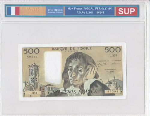 Ticket From 500 Francs Pascal 1991 Sup