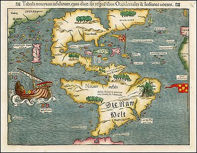 1550 New World North South America very early Sebastian Münster map 23760