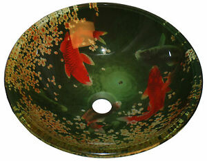 ... Koi Lily Fish Pond Tempered Glass Bathroom Vessel Sink Freebies eBay
