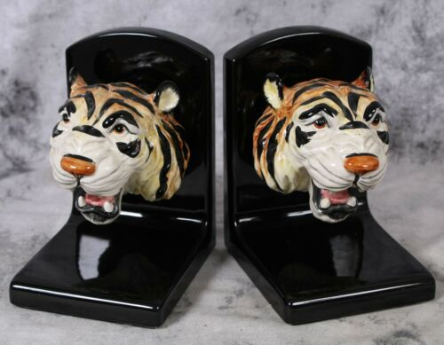 1988 Fitz & Floyd Roaring Open Mouth Tiger Head Ceramic Bookends Hand-Painted