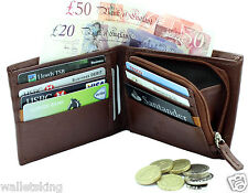 Starhide Mens Luxury Leather Wallet Purse With Secure Zip Coin Pocket 110-BROWN
