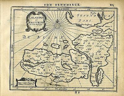 1651 Genuine Antique map Denmark Islands, Lalandia, Falstria. Mercator/Jansson
