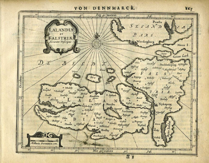 1651 Genuine Antique map Denmark Islands, Lalandia, Falstria. Mercator/Jansson