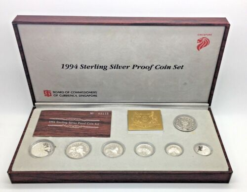 1994 Singapore  Sterling Silver Proof Coin Set 7 Coins Box COA
