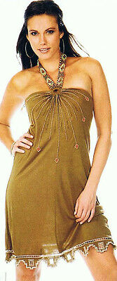 Krista Lee Geo Tribal Group Beaded Embroidered Halter Dress Cocoa Light Brown