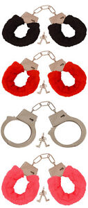 METAL-RED-BLACK-PINK-FLUFFY-FURRY-HANDCUFFS-FANCY-DRESS-SEXY-ROLE-PLAY-NIGHT-TOY