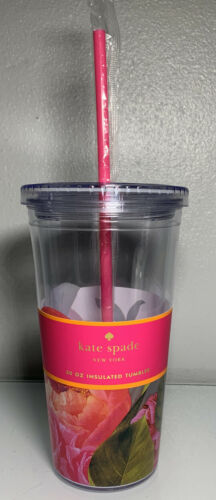 Kate Spade Tumbler with Straw Floral Flowers Rose Womens Tox