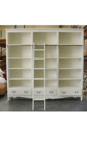 FRENCH PROVINCIAL LIBRARY BOOKCASE CABINET WITH LADDER