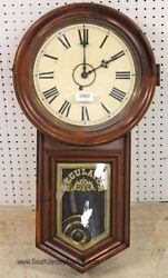 Antique Mahogany Case Hanging Regulator Wall Clock with Pendulum and Key Lot 12