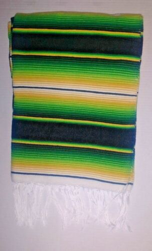 Mexican Serape Blanket Green Black Yellow Southwest Striped with white Fringe XL
