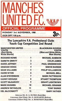 MANCHESTER UTD YOUTH v BLACKBURN ROVERS YOUTH 03/11/80 LANCS YOUTH CUP PROGRAMME