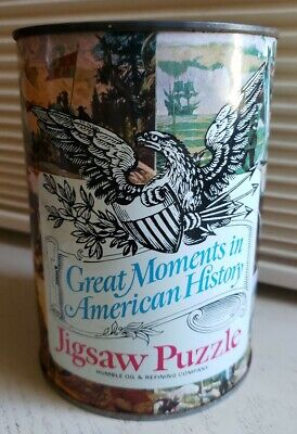 """Vtg 1969 Humble Oil Jigsaw Puzzle """"Great Moments In American History"""" Sealed Can"""