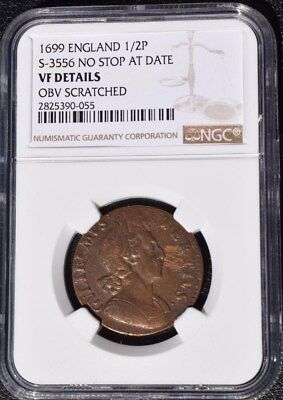 1699 Great Britain 1/2 Penny, England, NGC VF Details - Scratch, S-3556