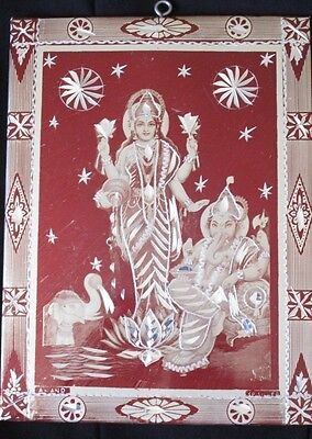 """Vtg Laser Etched Tin Art GANESH AND LAXMI Picture Wall Hanging India 8"""" x 6"""""""