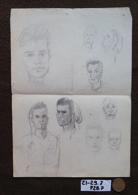 Zeichnung Studio (Zeichnung Vintage Studio für Gesichter Echthaar Bleistift auf Papier Katalog)