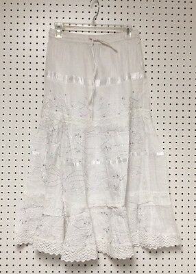 100% Cotton Boho Lace Trim Embroidered Tiered Peasant Sweep Skirt 1X-2X-3X NWT ()