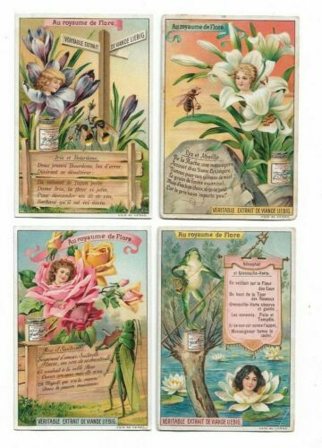 4 Victorian Trade Cards Art Nouveau Woman Flowers Liebig Advertising   L1