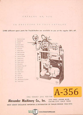 Traub Strohm A15 A25 Lathe Parts Manual Year 1974