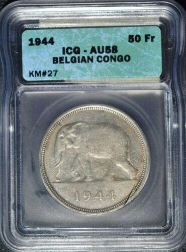 1944 Belgian Congo 50 Francs, ICG AU 58