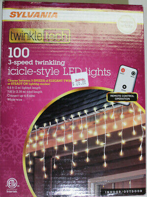 100 Count LED Warm White Icicle Christmas / Wedding Lights with Controller