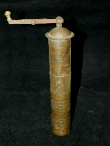 AUTHENTIC CIVIL WAR ERA BRASS  HAND CRANK COFFEE BEAN GRINDER