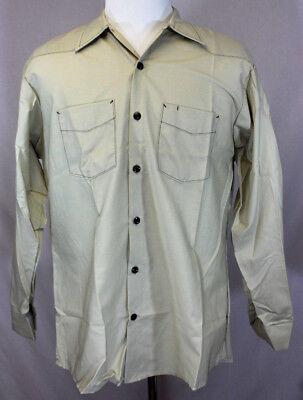 Mens Work Uniform Shirt Long Sleeve Button Front Solid Tan Size Medium NEW  Tan Uniform Shirt