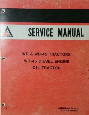 Allis Chalmers Wd Wd-45 D-14 Gasoline Diesel Tractor Master Service Manual Ac