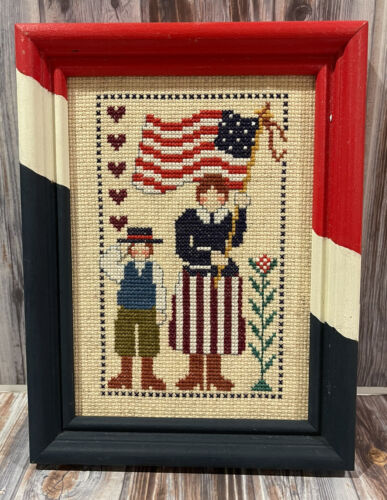 Finished American USA Flag Patriotic Cross Stitch Picture 5x7 - $19.99