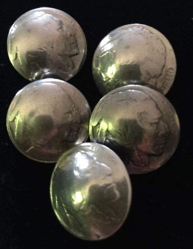 Vintage Authentic Indian head Nickel Buttons Old  Lot of 5  Loop Back