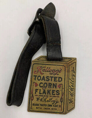Vintage Brass KELLOGGS TOASTED CORN FLAKES BOX with strap