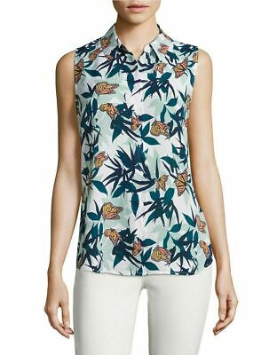 Equipment Colleen Silk Sleeveless Butterfly Palm Print Button Up White Shirt