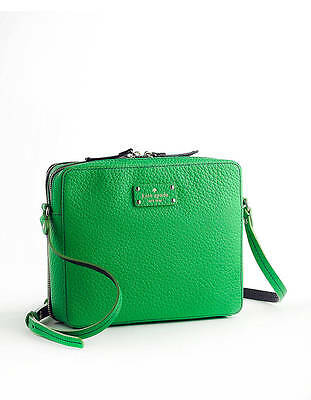 Kate Spade Leather Cross Body   Grove Court Jordan Satchel Purse Shamrock Green
