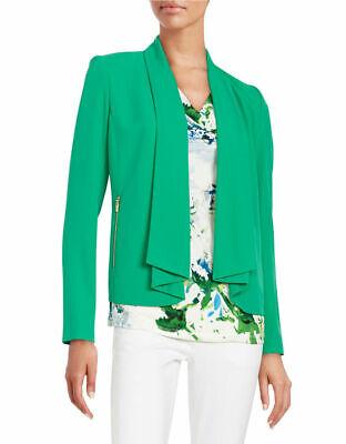 CALVIN KLEIN ~Sizes 4 & 6~ Zip Pocket Flyaway Work Office Blazer Green Jacket