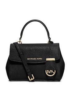 b335d0ca90e1aa Michael Kors Women's Ava Extra Small Cross Body Leather Handbag - Black