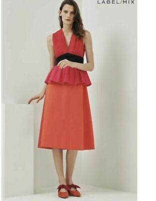 BNWT ISA ARFEN RED ORANGE & PINK COLOUR BLOCK PEPLUM DRESS SIZE UK 14 RRP £175